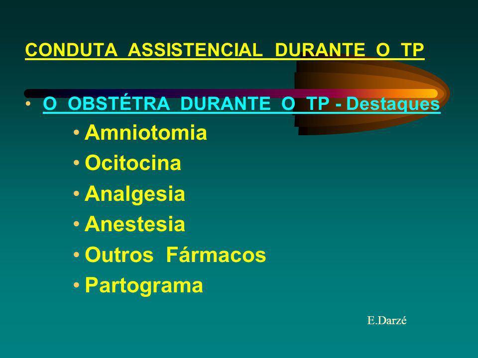 E.Darzé CONDUTA ASSISTENCIAL DURANTE O TP O OBSTÉTRA DURANTE O TP - Destaques Amniotomia Ocitocina Analgesia Anestesia Outros Fármacos Partograma