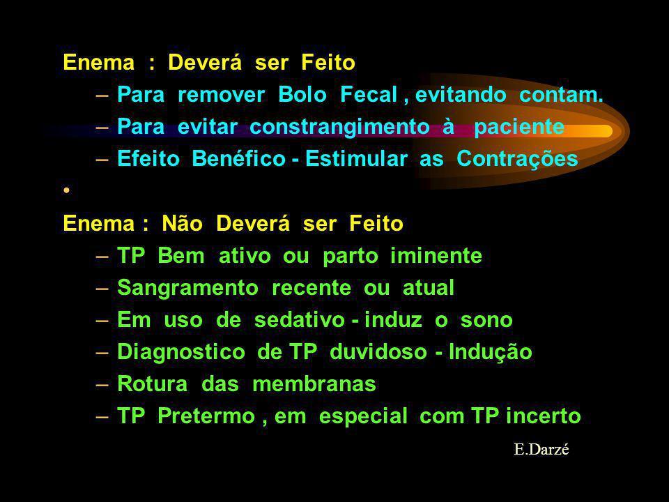 E.Darzé Enema : Deverá ser Feito –Para remover Bolo Fecal, evitando contam. –Para evitar constrangimento à paciente –Efeito Benéfico - Estimular as Co