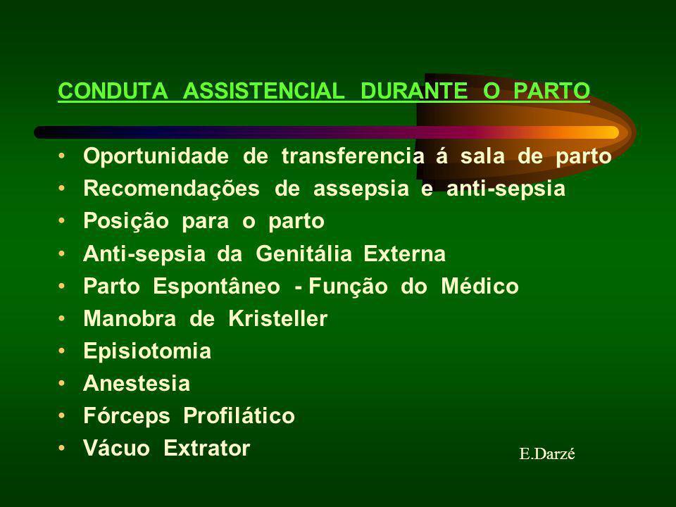 E.Darzé CONDUTA ASSISTENCIAL DURANTE O PARTO Oportunidade de transferencia á sala de parto Recomendações de assepsia e anti-sepsia Posição para o part