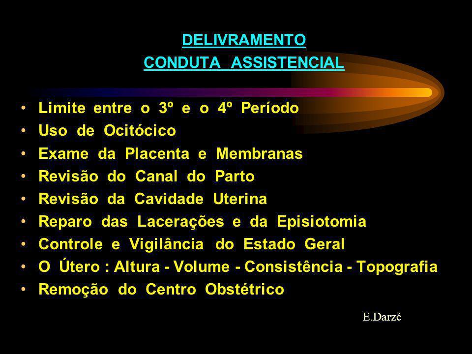 DELIVRAMENTO CONDUTA ASSISTENCIAL Limite entre o 3º e o 4º Período Uso de Ocitócico Exame da Placenta e Membranas Revisão do Canal do Parto Revisão da