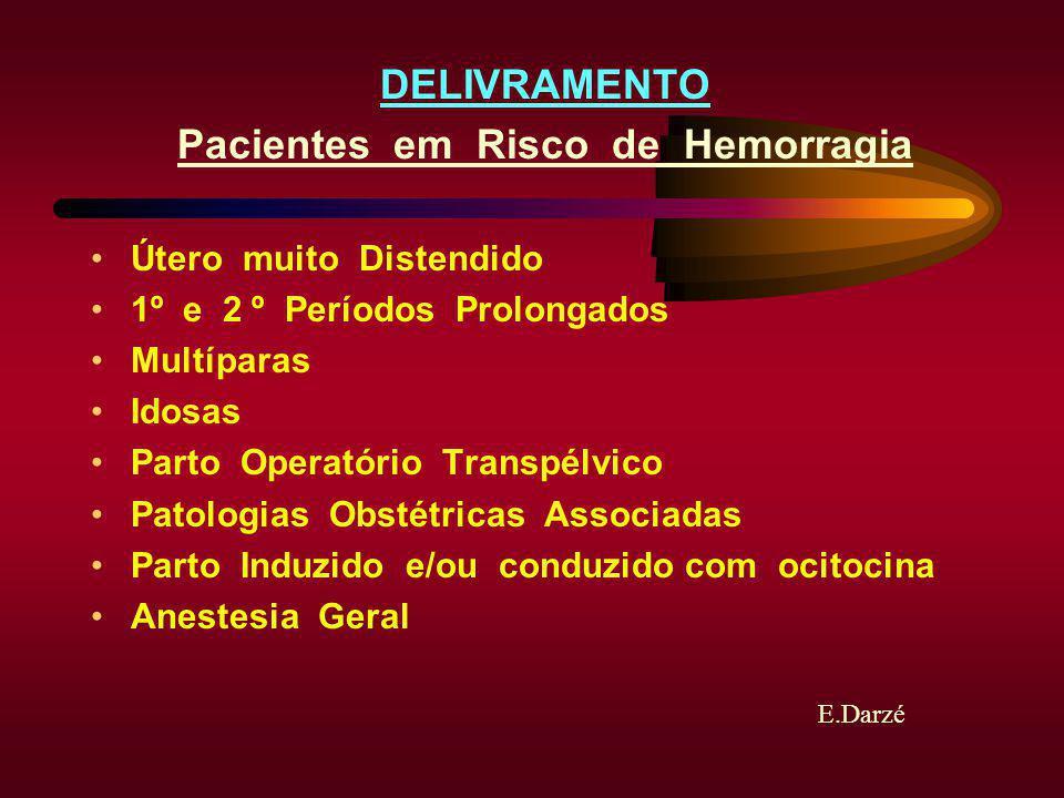 E.Darzé DELIVRAMENTO Pacientes em Risco de Hemorragia Útero muito Distendido 1º e 2 º Períodos Prolongados Multíparas Idosas Parto Operatório Transpél