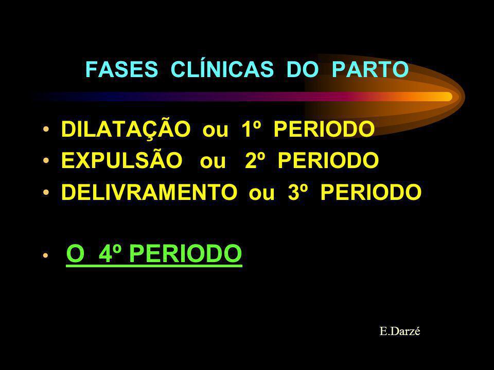 E.Darzé FASES CLÍNICAS DO PARTO DILATAÇÃO ou 1º PERIODO EXPULSÃO ou 2º PERIODO DELIVRAMENTO ou 3º PERIODO O 4º PERIODO