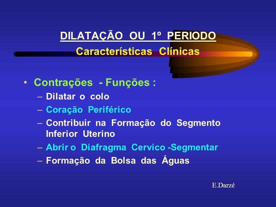 E.Darzé DILATAÇÃO OU 1º PERIODO Características Clínicas Velocidade Clínica da Contração Primigravida --- 1.2 cm / hora Multigravida --- 1.5 cm / hora Avaliação Clínica Dilatação : Toque Vaginal