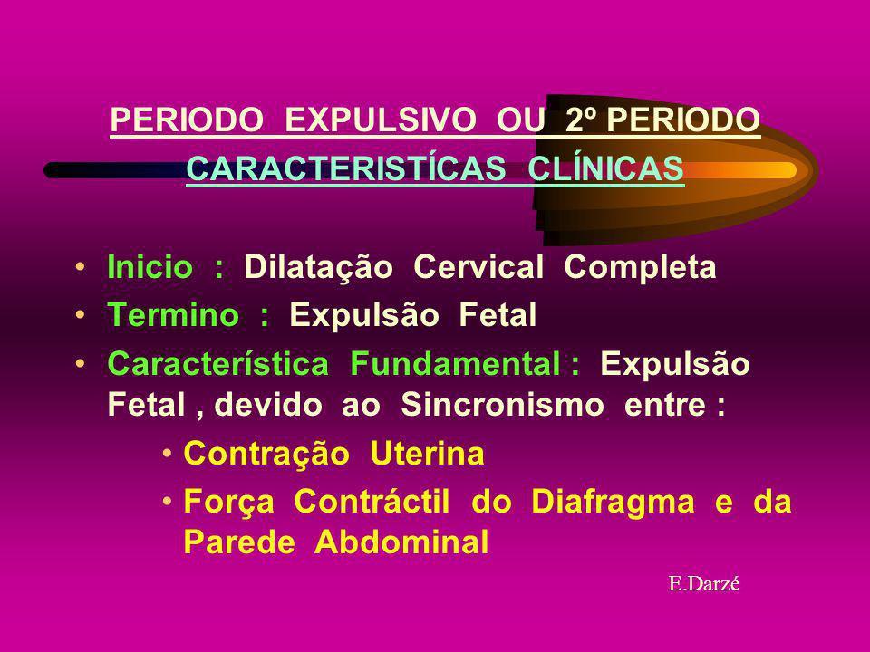 PERIODO EXPULSIVO OU 2º PERIODO CARACTERISTÍCAS CLÍNICAS Inicio : Dilatação Cervical Completa Termino : Expulsão Fetal Característica Fundamental : Ex