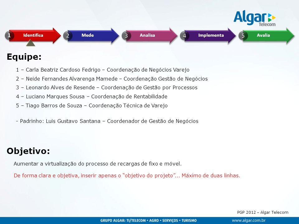 PGP 2012 – Algar Telecom Equipe: Objetivo: 1 – Carla Beatriz Cardoso Fedrigo – Coordenação de Negócios Varejo 2 – Neide Fernandes Alvarenga Mamede – C