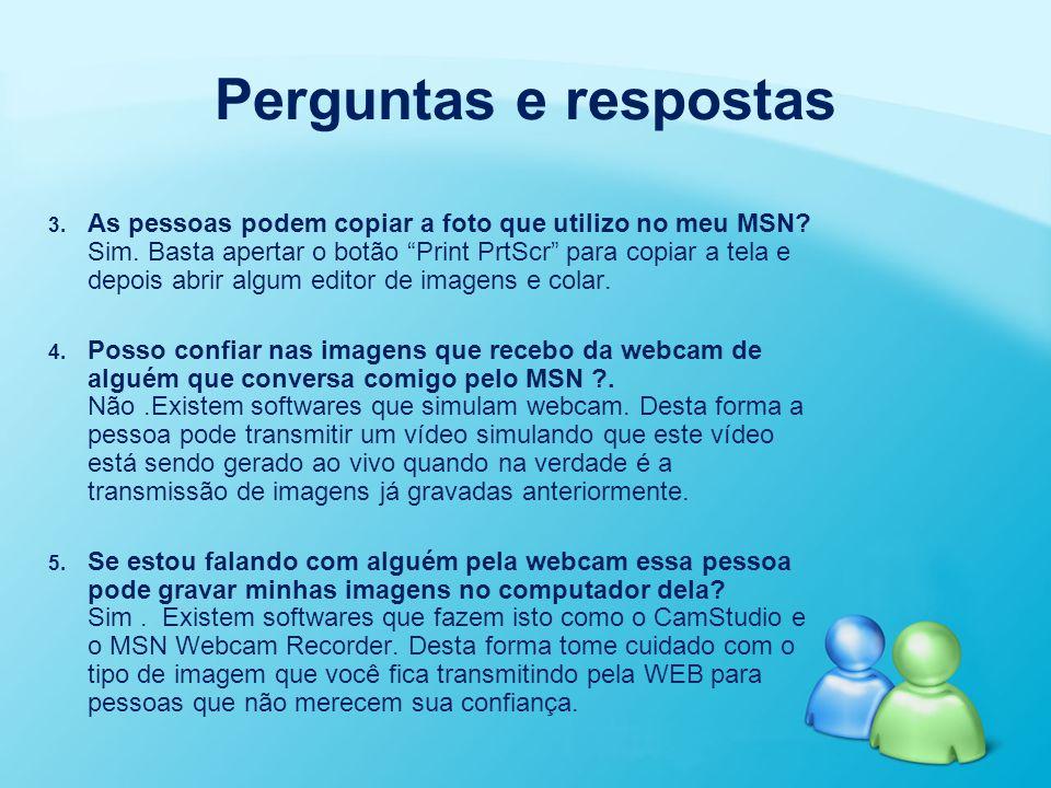 """3. 3. As pessoas podem copiar a foto que utilizo no meu MSN? Sim. Basta apertar o botão """"Print PrtScr"""" para copiar a tela e depois abrir algum editor"""