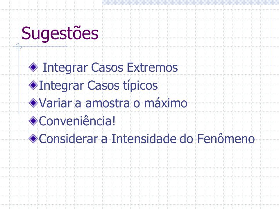 Sugestões Integrar Casos Extremos Integrar Casos típicos Variar a amostra o máximo Conveniência.
