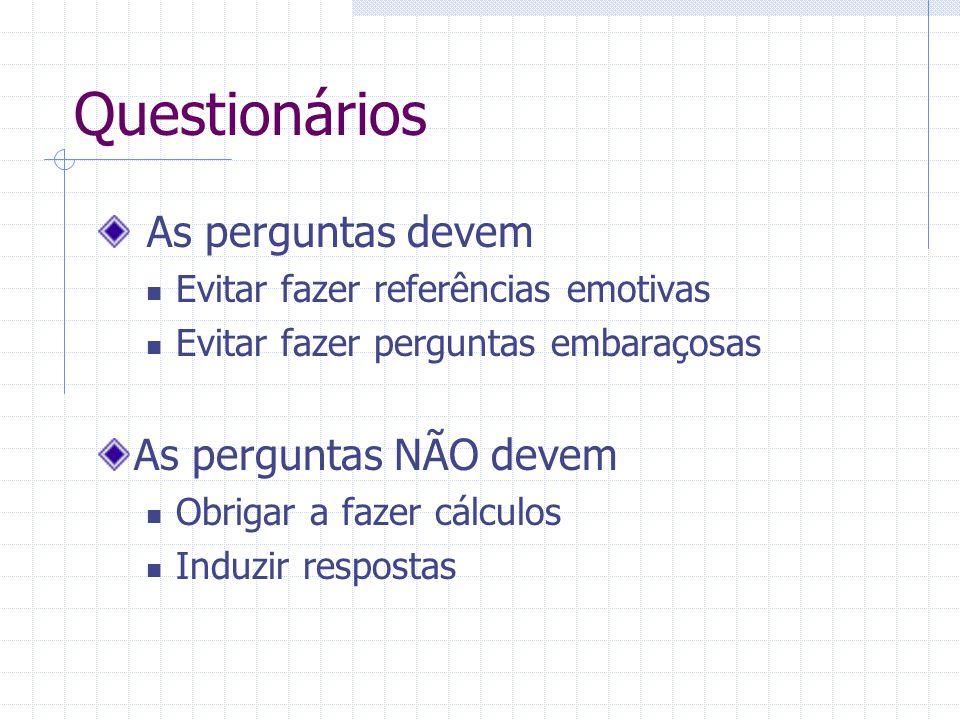 Questionários As perguntas devem Evitar fazer referências emotivas Evitar fazer perguntas embaraçosas As perguntas NÃO devem Obrigar a fazer cálculos Induzir respostas