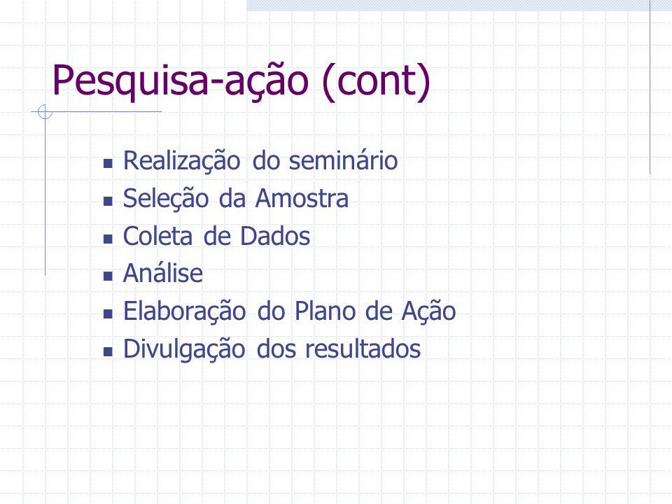 Pesquisa-ação (cont) Realização do seminário Seleção da Amostra Coleta de Dados Análise Elaboração do Plano de Ação Divulgação dos resultados