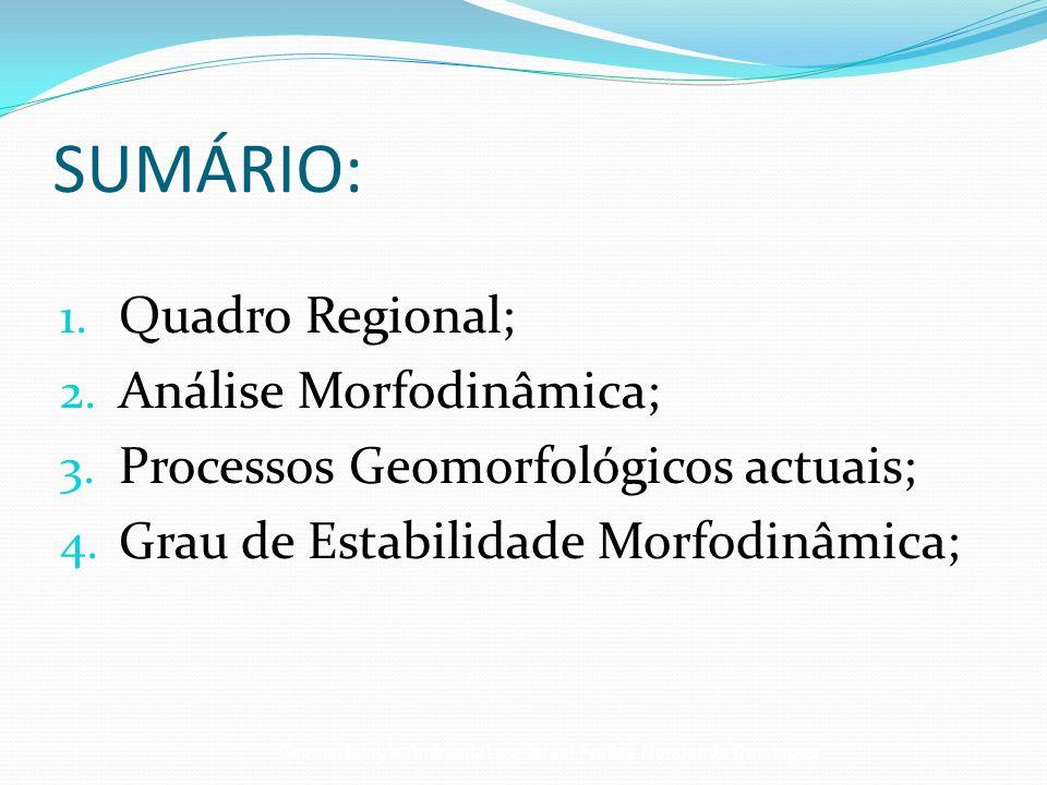 SUMÁRIO: 1. Quadro Regional; 2. Análise Morfodinâmica; 3. Processos Geomorfológicos actuais; 4. Grau de Estabilidade Morfodinâmica; Geomorfologia Ambi