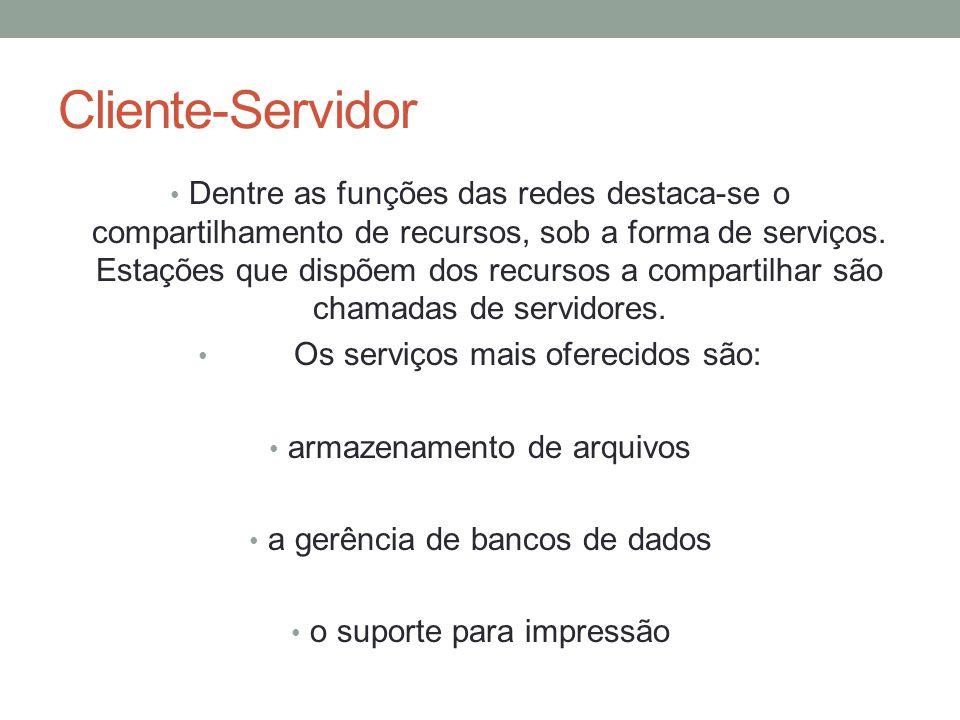Cliente-Servidor dedicado O cliente – servidor dedicado é usado geralmente quando um serviço é utilizado por vários clientes em tempo integral e que precise ser seguro e confiável.