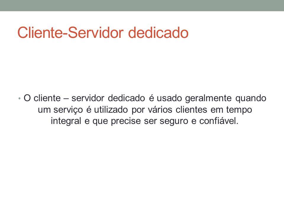 Cliente-Servidor não dedicado O Cliente – Servidor não dedicado é utilizado quando se precisa utilizar o servidor para outros fins que não sejam recursos compartilhados.