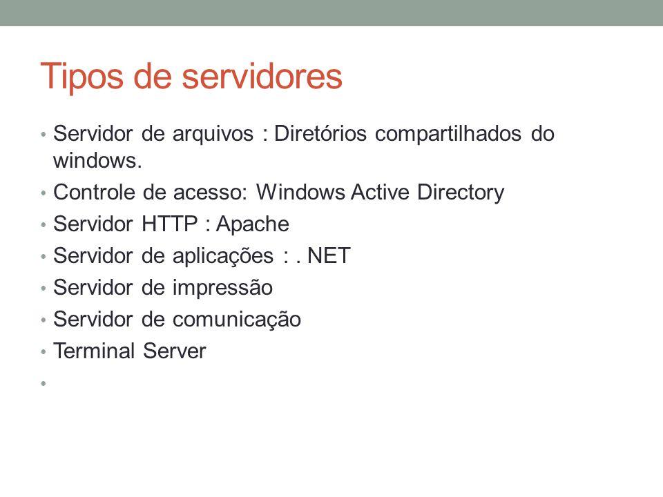 Tipos de servidores Servidor de arquivos : Diretórios compartilhados do windows. Controle de acesso: Windows Active Directory Servidor HTTP : Apache S
