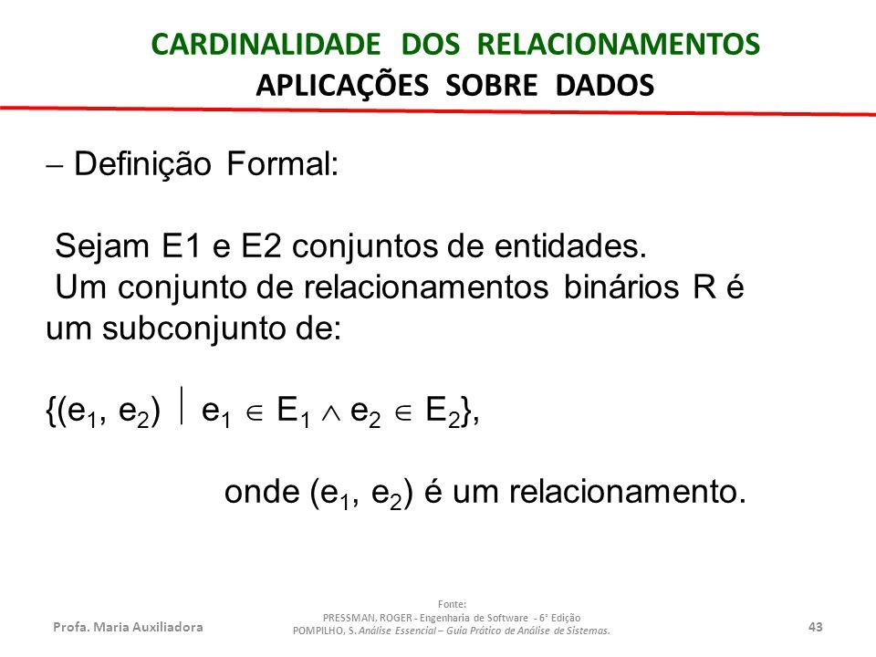 Profa.Maria Auxiliadora43 Fonte: PRESSMAN, ROGER - Engenharia de Software - 6° Edição POMPILHO, S.