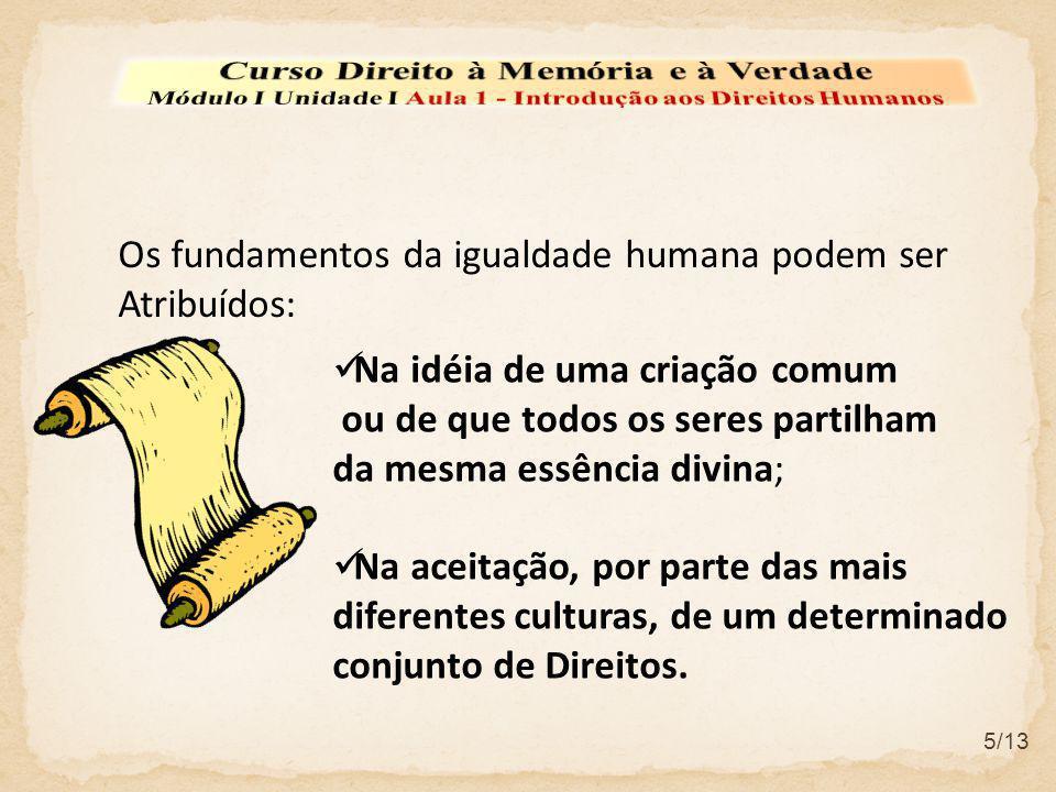 Os fundamentos da igualdade humana podem ser Atribuídos: Na idéia de uma criação comum ou de que todos os seres partilham da mesma essência divina; Na