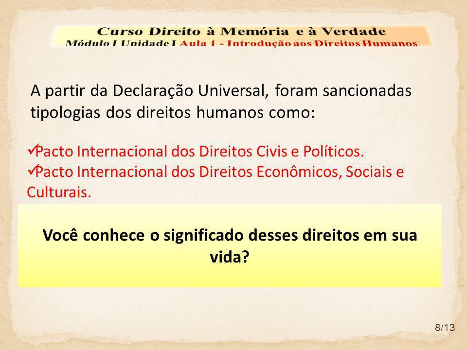 A partir da Declaração Universal, foram sancionadas tipologias dos direitos humanos como: Pacto Internacional dos Direitos Civis e Políticos. Pacto In