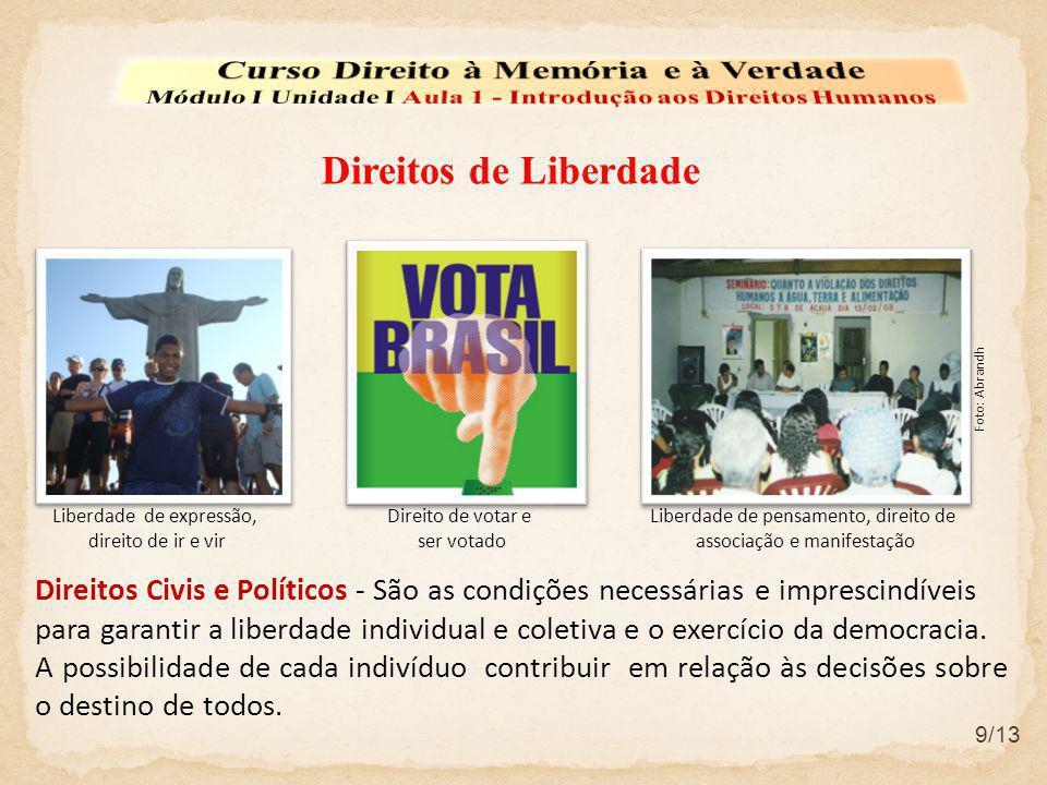 Direitos Civis e Políticos - São as condições necessárias e imprescindíveis para garantir a liberdade individual e coletiva e o exercício da democraci