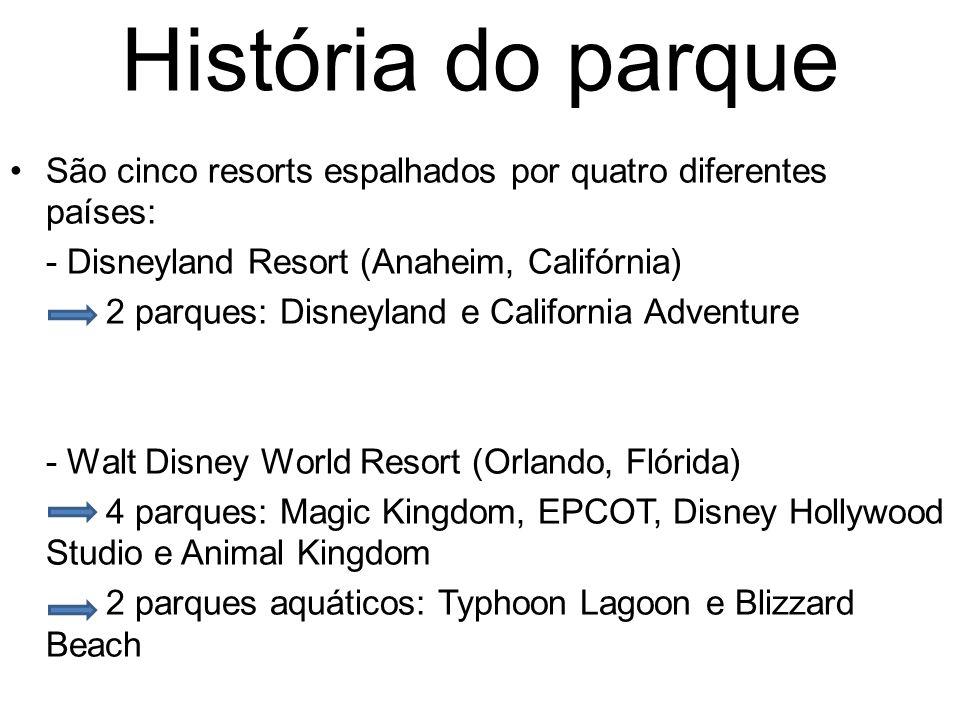 História do parque São cinco resorts espalhados por quatro diferentes países: - Disneyland Resort (Anaheim, Califórnia) 2 parques: Disneyland e California Adventure - Walt Disney World Resort (Orlando, Flórida) 4 parques: Magic Kingdom, EPCOT, Disney Hollywood Studio e Animal Kingdom 2 parques aquáticos: Typhoon Lagoon e Blizzard Beach