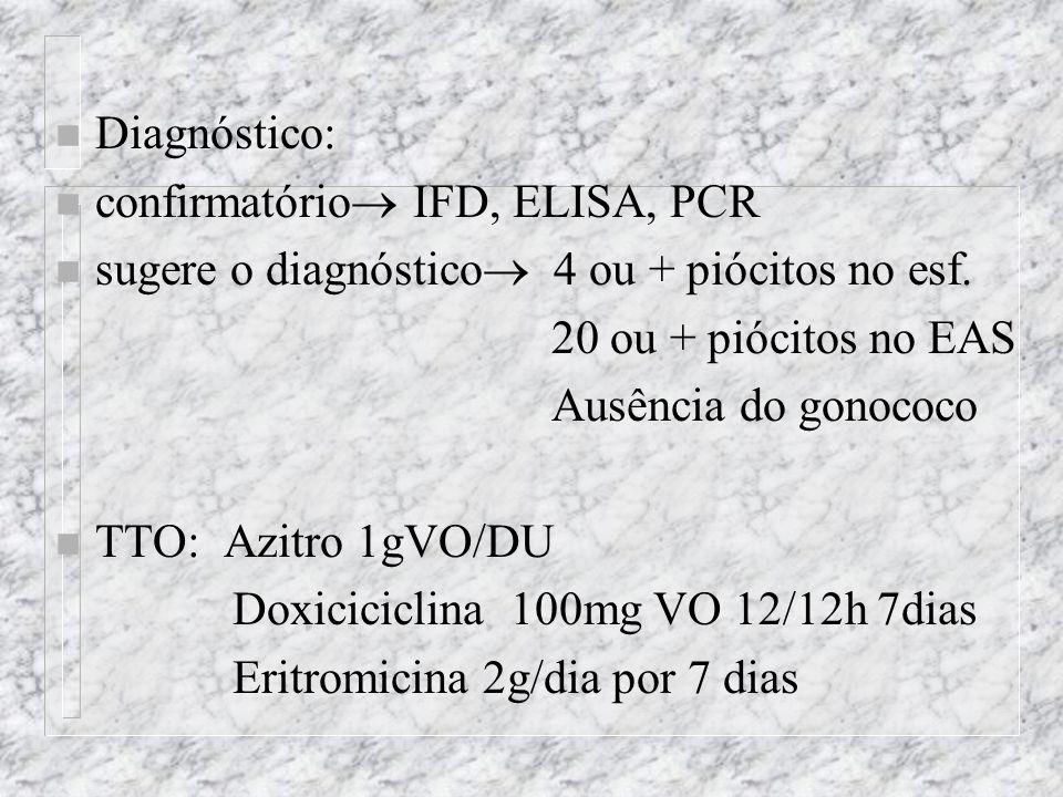 n Diagnóstico: n confirmatório  IFD, ELISA, PCR n sugere o diagnóstico  4 ou + piócitos no esf.