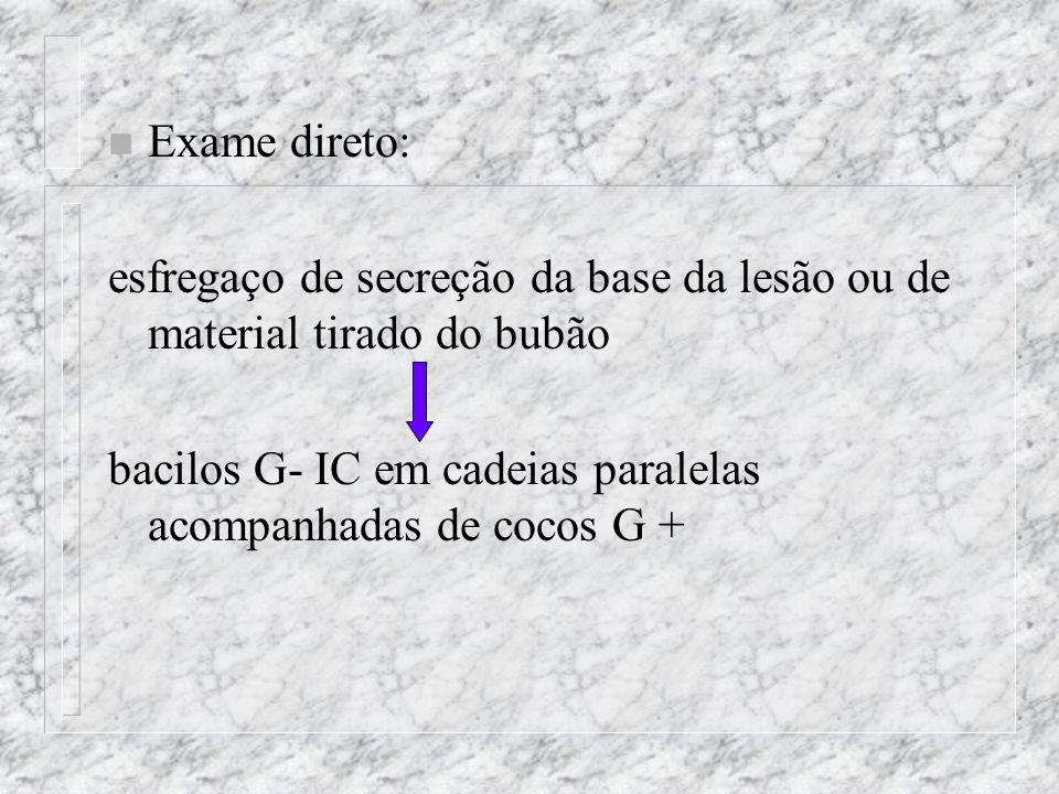 n Exame direto: esfregaço de secreção da base da lesão ou de material tirado do bubão bacilos G- IC em cadeias paralelas acompanhadas de cocos G +