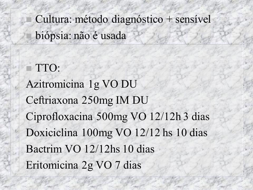 n Cultura: método diagnóstico + sensível n biópsia: não é usada n TTO: Azitromicina 1g VO DU Ceftriaxona 250mg IM DU Ciprofloxacina 500mg VO 12/12h 3 dias Doxiciclina 100mg VO 12/12 hs 10 dias Bactrim VO 12/12hs 10 dias Eritomicina 2g VO 7 dias