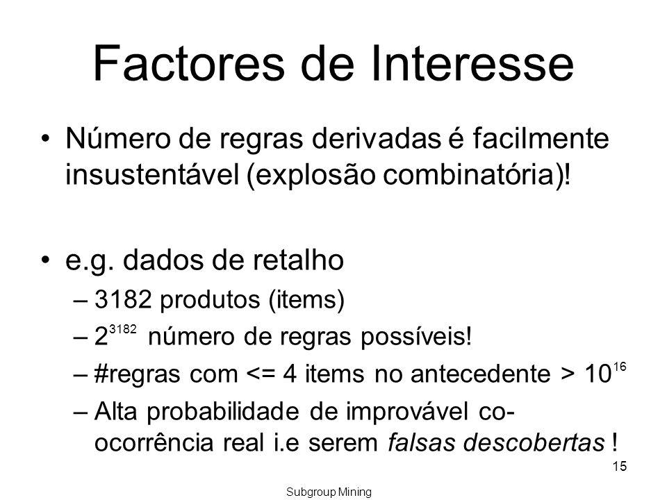Factores de Interesse Número de regras derivadas é facilmente insustentável (explosão combinatória).