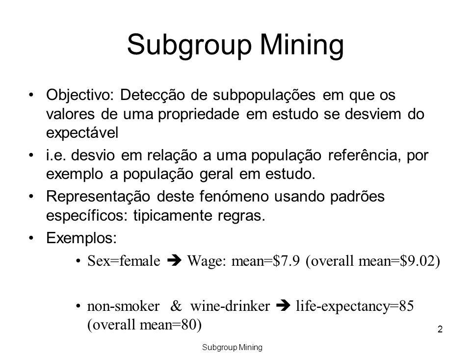 Subgroup Mining Objectivo: Detecção de subpopulações em que os valores de uma propriedade em estudo se desviem do expectável i.e.