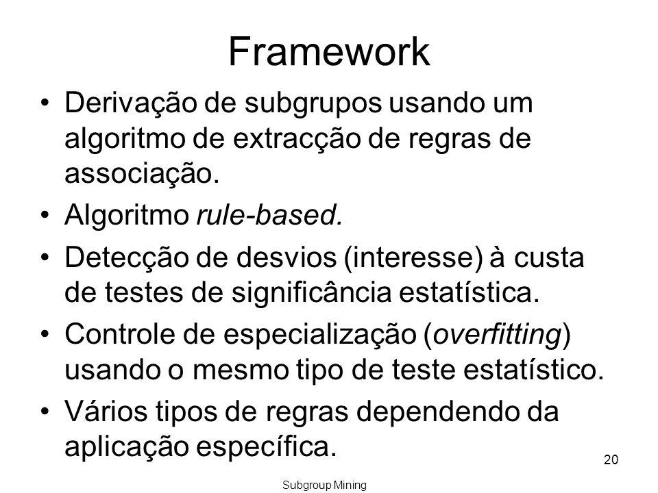 Framework Derivação de subgrupos usando um algoritmo de extracção de regras de associação.