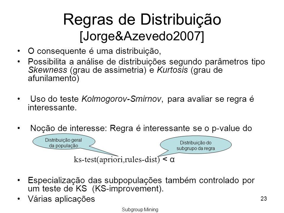 Regras de Distribuição [Jorge&Azevedo2007] O consequente é uma distribuição, Possibilita a análise de distribuições segundo parâmetros tipo Skewness (grau de assimetria) e Kurtosis (grau de afunilamento) Uso do teste Kolmogorov-Smirnov, para avaliar se regra é interessante.
