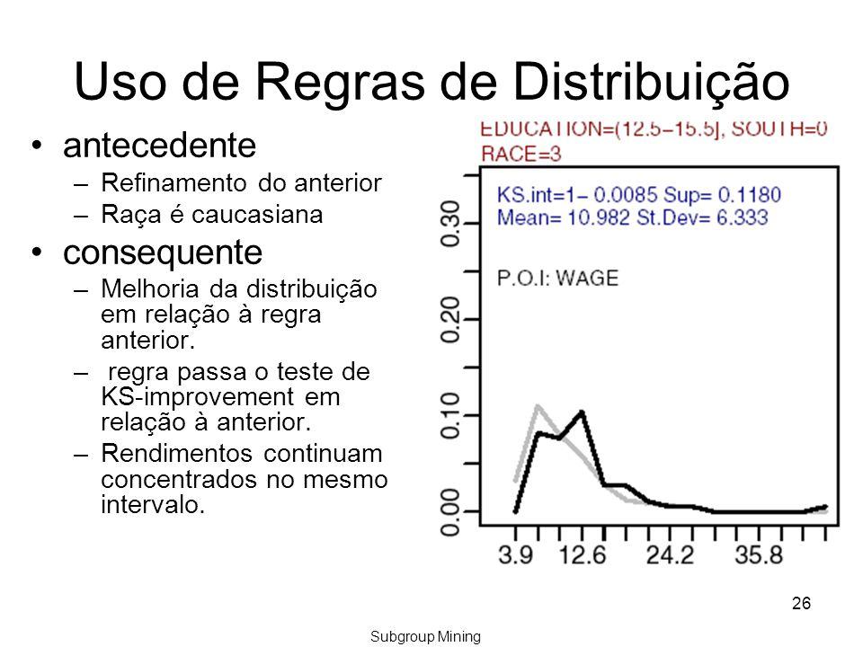 26 Uso de Regras de Distribuição antecedente –Refinamento do anterior –Raça é caucasiana consequente –Melhoria da distribuição em relação à regra anterior.