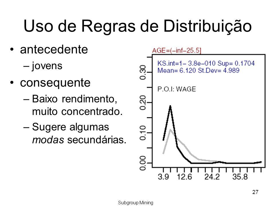 27 Uso de Regras de Distribuição antecedente –jovens consequente –Baixo rendimento, muito concentrado.