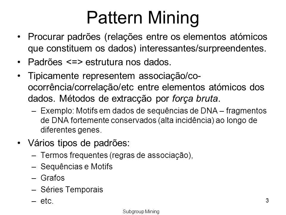 Pattern Mining Procurar padrões (relações entre os elementos atómicos que constituem os dados) interessantes/surpreendentes.