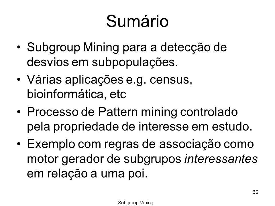 Sumário Subgroup Mining para a detecção de desvios em subpopulações.