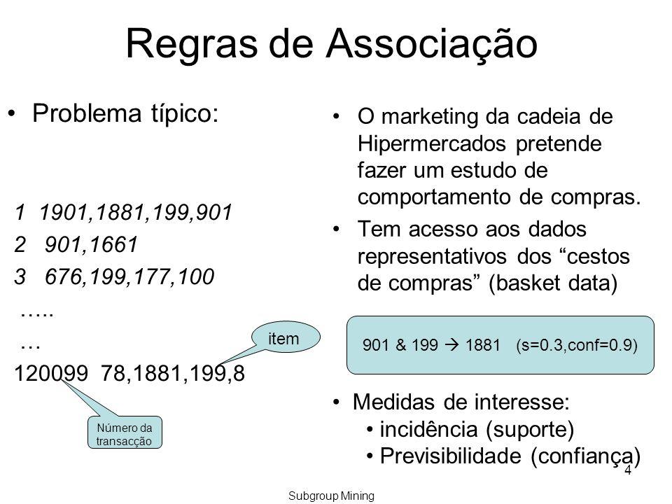 4 Regras de Associação Problema típico: 1 1901,1881,199,901 2 901,1661 3 676,199,177,100 …..
