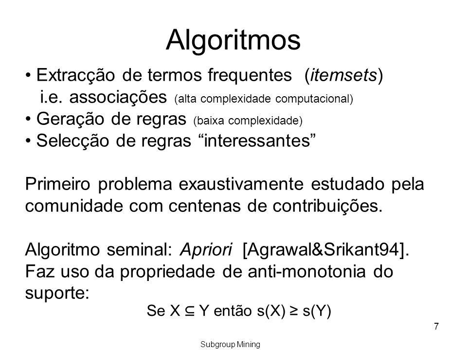 Max Leverage Rules [Jorge&Azevedo2011] Regras do tipo: ant  A I, onde I é o intervalo que define o máximo valor de leverage (add value) de A para o antecedente ant, onde A é a nossa poi.