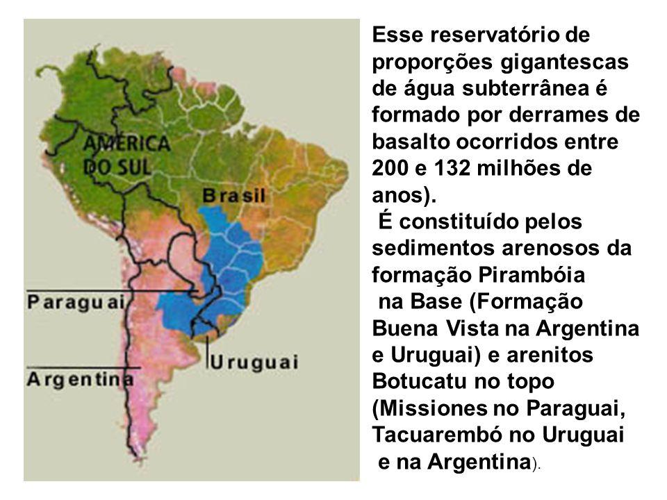 Esse reservatório de proporções gigantescas de água subterrânea é formado por derrames de basalto ocorridos entre 200 e 132 milhões de anos).