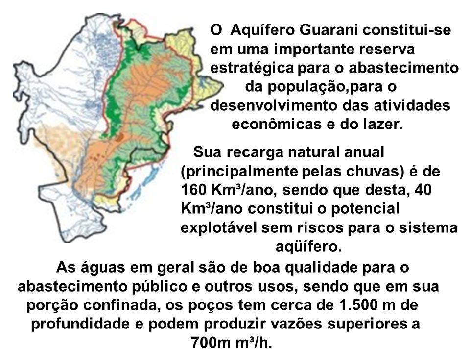 O Aquífero Guarani constitui-se em uma importante reserva estratégica para o abastecimento da população,para o desenvolvimento das atividades econômicas e do lazer.