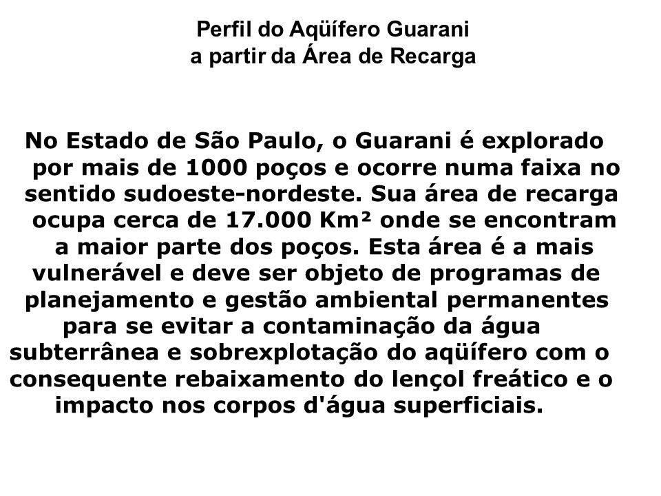 Perfil do Aqüífero Guarani a partir da Área de Recarga No Estado de São Paulo, o Guarani é explorado por mais de 1000 poços e ocorre numa faixa no sentido sudoeste-nordeste.