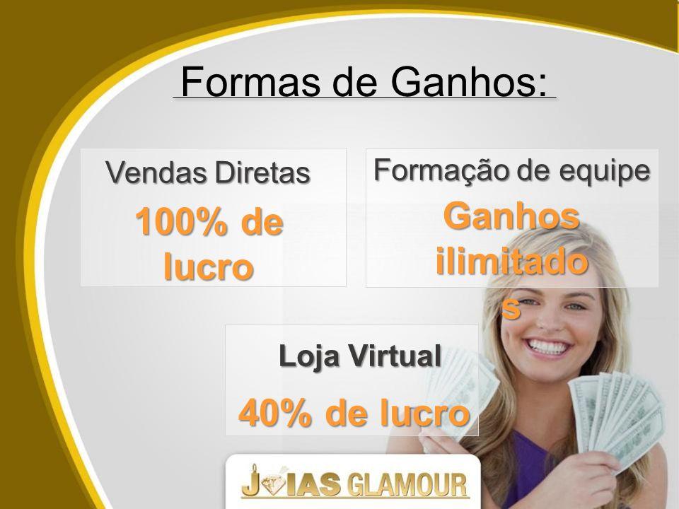 Formas de Ganhos: Vendas Diretas Formação de equipe Ganhos ilimitado s 100% de lucro Loja Virtual 40% de lucro