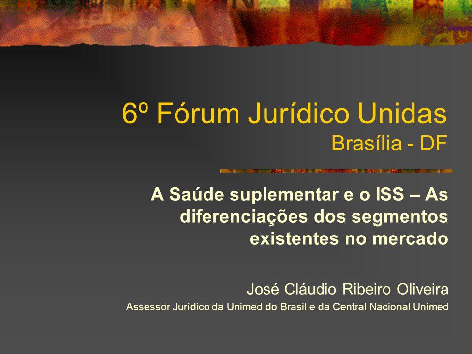 6º Fórum Jurídico Unidas Brasília - DF A Saúde suplementar e o ISS – As diferenciações dos segmentos existentes no mercado José Cláudio Ribeiro Oliveira Assessor Jurídico da Unimed do Brasil e da Central Nacional Unimed