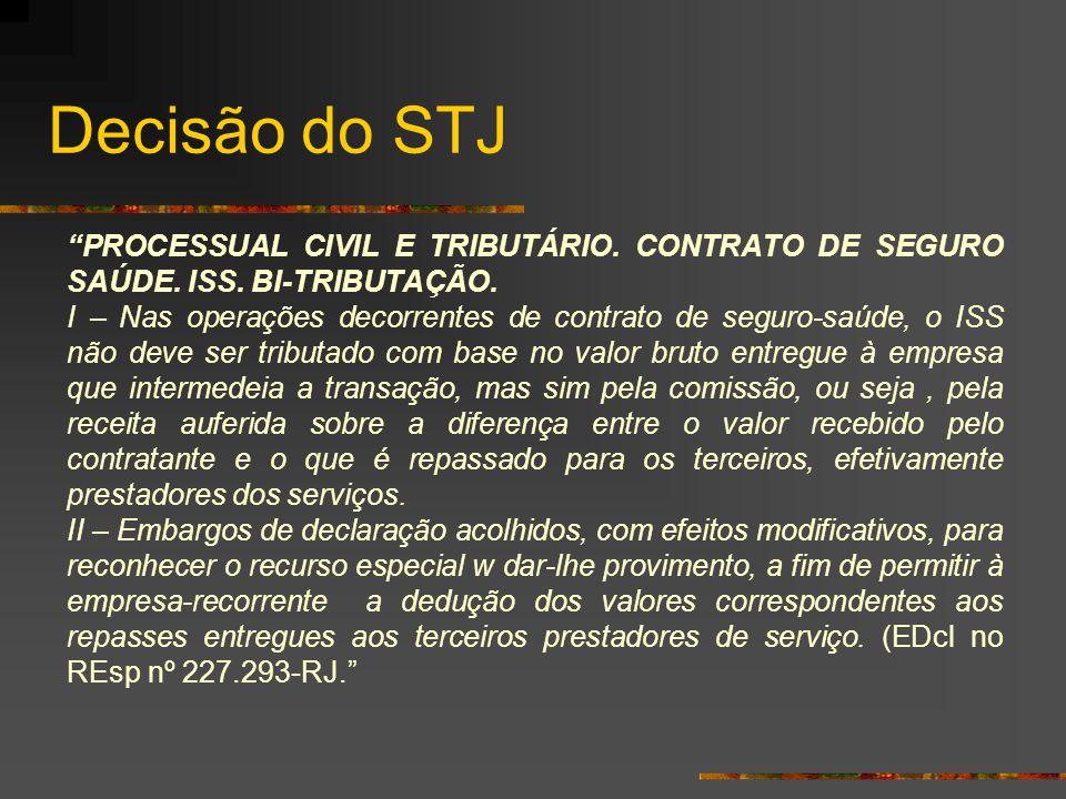"""Decisão do STJ """"PROCESSUAL CIVIL E TRIBUTÁRIO. CONTRATO DE SEGURO SAÚDE. ISS. BI-TRIBUTAÇÃO. I – Nas operações decorrentes de contrato de seguro-saúde"""