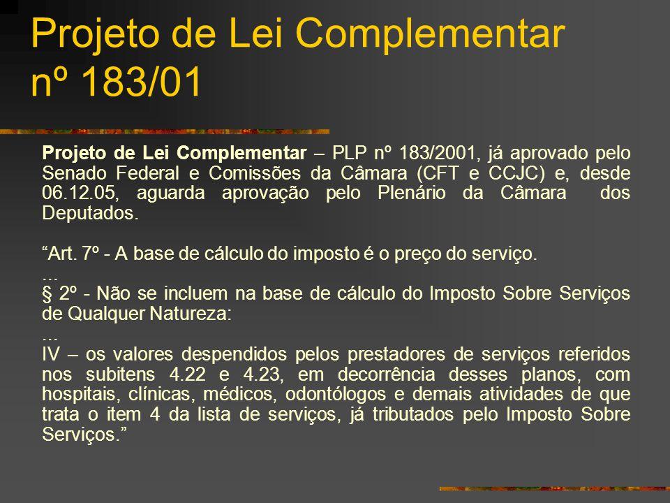 Projeto de Lei Complementar nº 183/01 Projeto de Lei Complementar – PLP nº 183/2001, já aprovado pelo Senado Federal e Comissões da Câmara (CFT e CCJC) e, desde 06.12.05, aguarda aprovação pelo Plenário da Câmara dos Deputados.