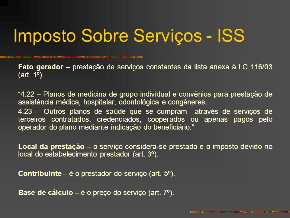 """Imposto Sobre Serviços - ISS Fato gerador – prestação de serviços constantes da lista anexa à LC 116/03 (art. 1º). """"4.22 – Planos de medicina de grupo"""