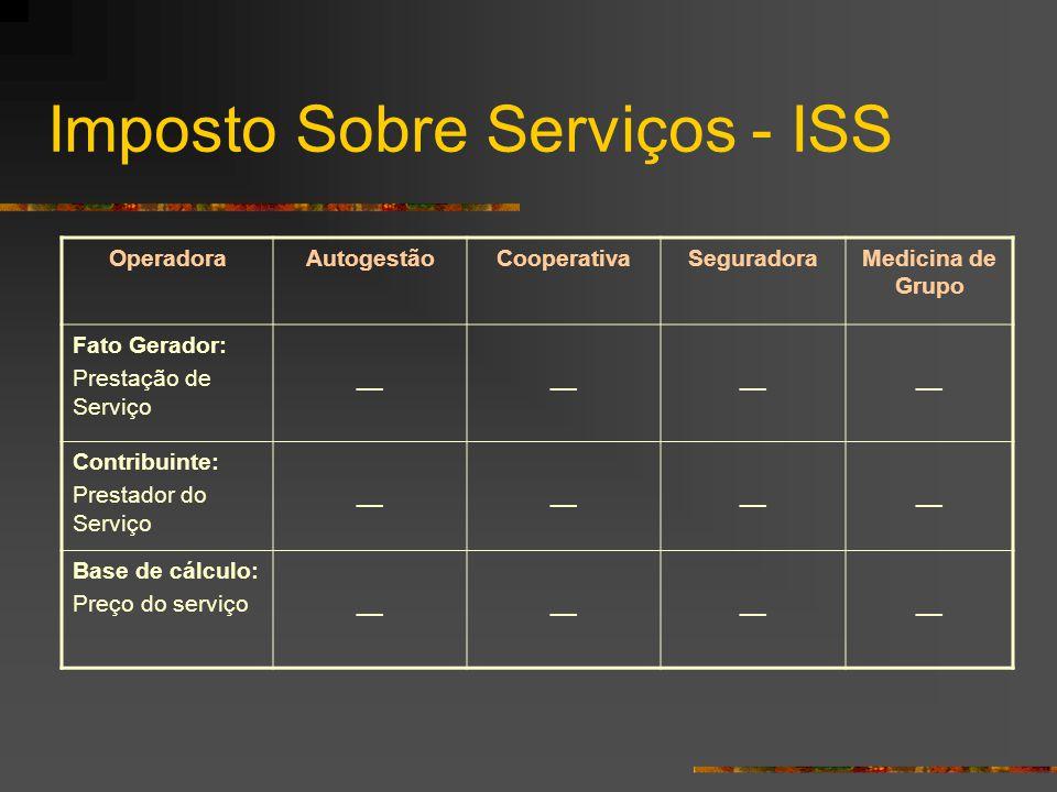 Imposto Sobre Serviços - ISS OperadoraAutogestãoCooperativaSeguradoraMedicina de Grupo Fato Gerador: Prestação de Serviço __ Contribuinte: Prestador d