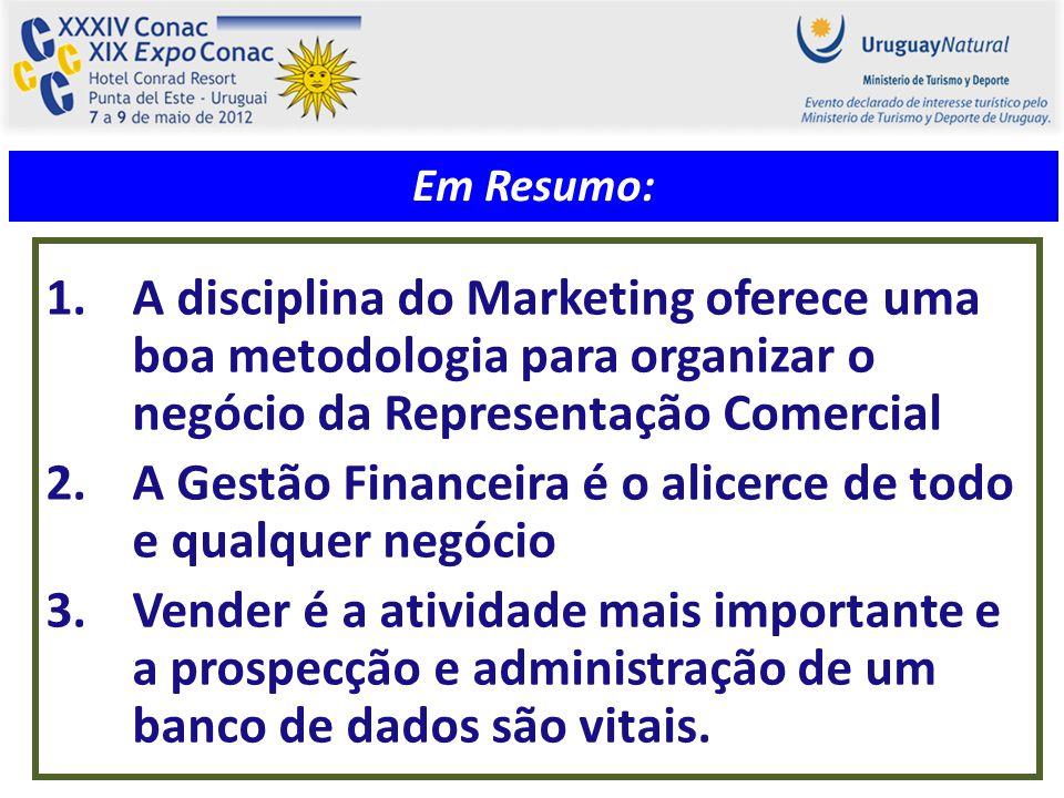 1.A disciplina do Marketing oferece uma boa metodologia para organizar o negócio da Representação Comercial 2.A Gestão Financeira é o alicerce de todo