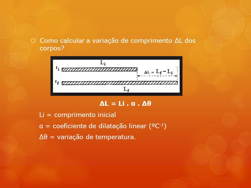  Como calcular a variação de comprimento ΔL dos corpos.