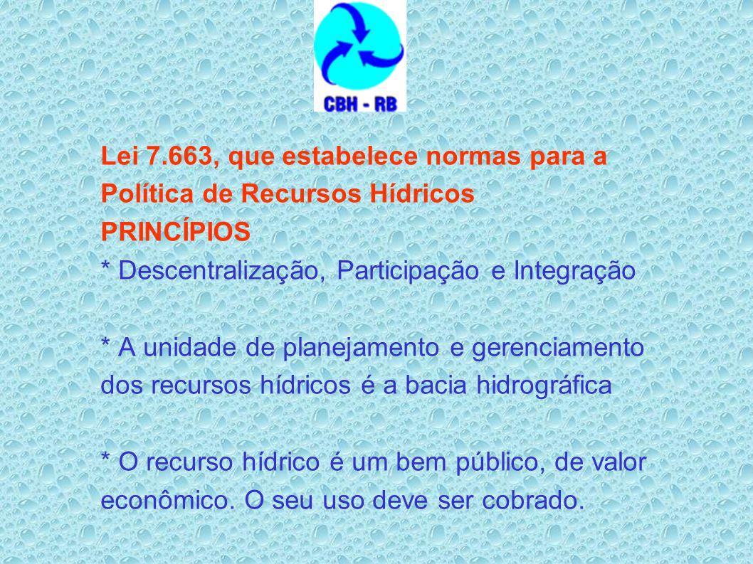 Lei 7.663, que estabelece normas para a Política de Recursos Hídricos PRINCÍPIOS * Descentralização, Participação e Integração * A unidade de planejam