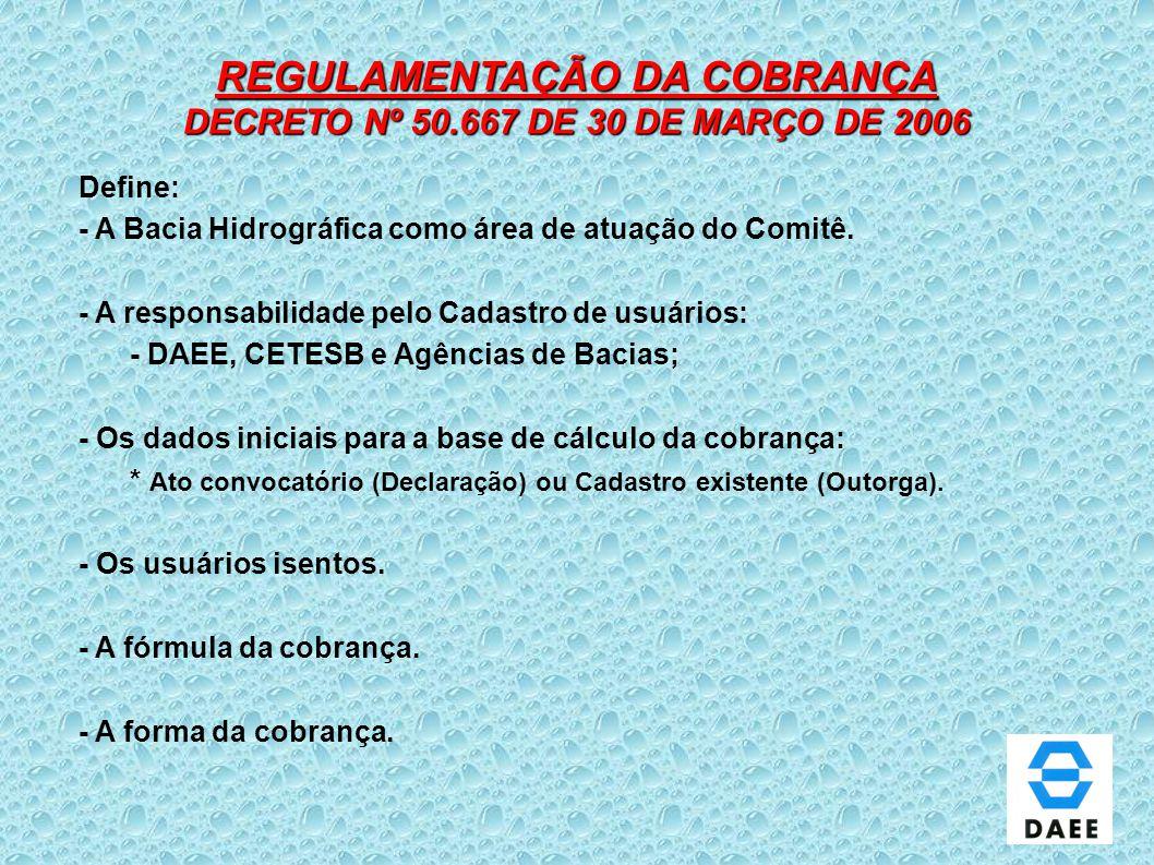 REGULAMENTAÇÃO DA COBRANÇA DECRETO Nº 50.667 DE 30 DE MARÇO DE 2006 Define: - A Bacia Hidrográfica como área de atuação do Comitê. - A responsabilidad