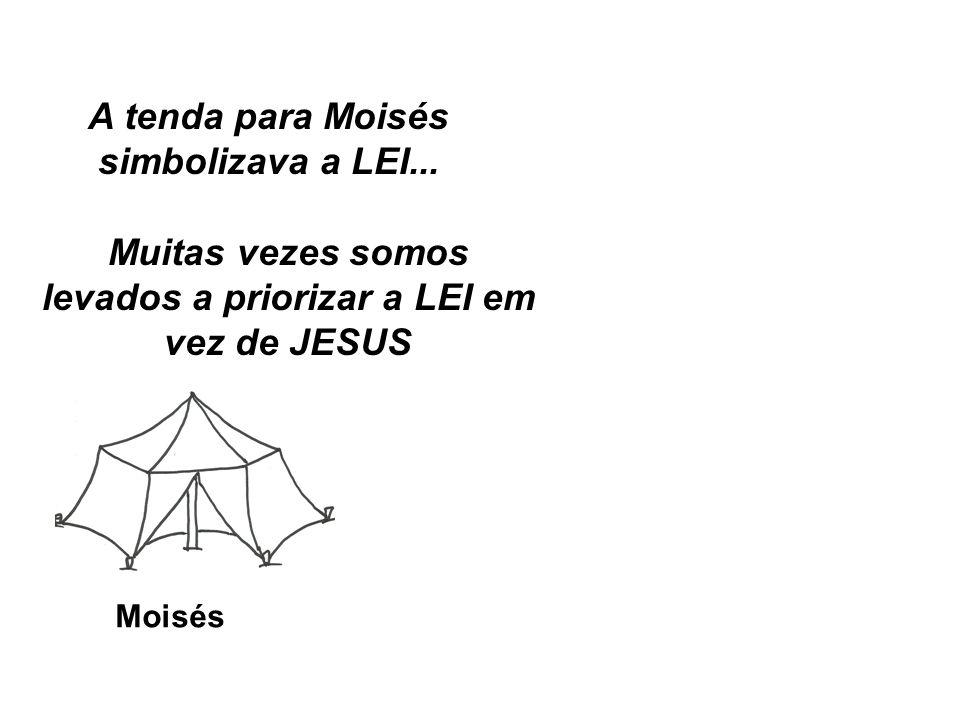 Moisés A tenda para Moisés simbolizava a LEI... Muitas vezes somos levados a priorizar a LEI em vez de JESUS