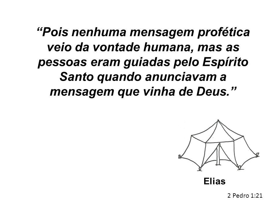 """""""Pois nenhuma mensagem profética veio da vontade humana, mas as pessoas eram guiadas pelo Espírito Santo quando anunciavam a mensagem que vinha de Deu"""